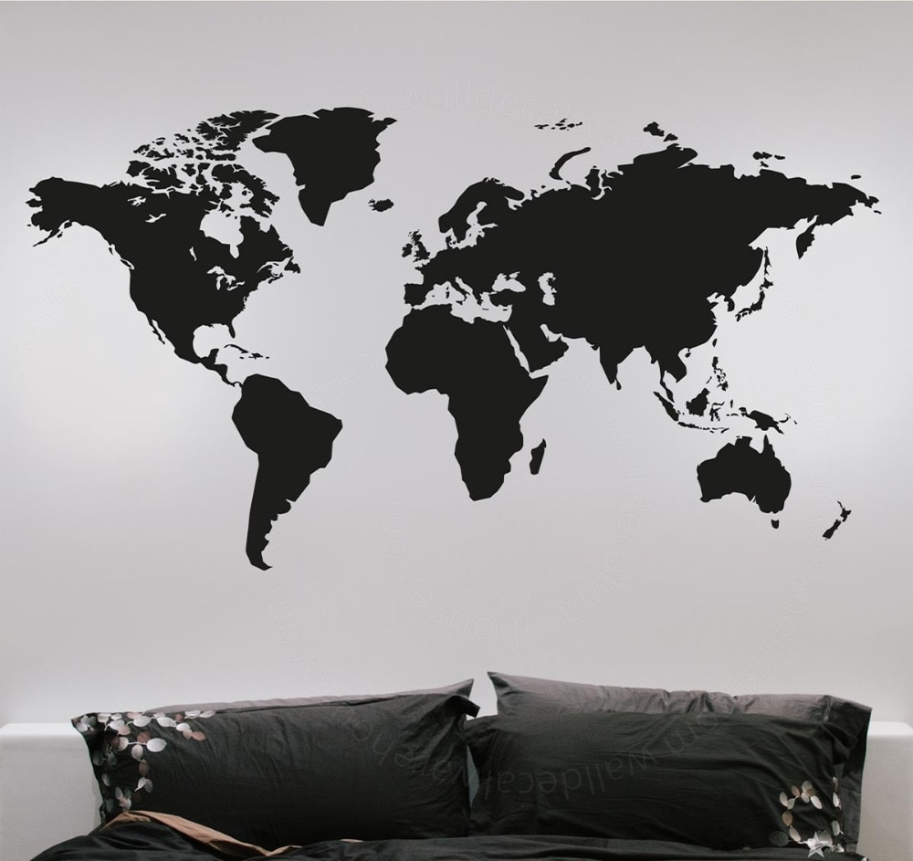 Fashion Large World Map Wall Stickers Creative Vinyl Wall Art With Regard To Most Up To Date Vinyl Wall Art World Map (View 4 of 20)