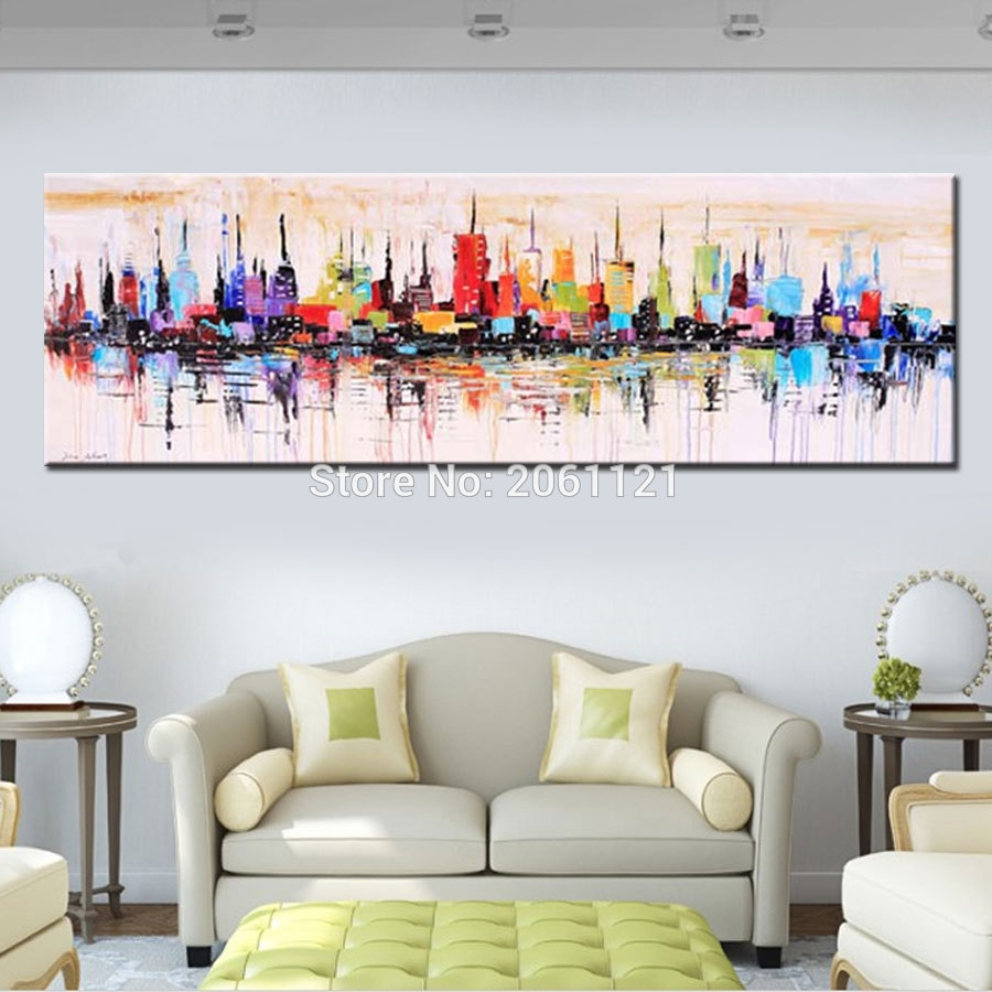 Fashion Modern Living Room Decorative Oil Painting Handpainted Large For Current Long Canvas Wall Art (View 11 of 20)