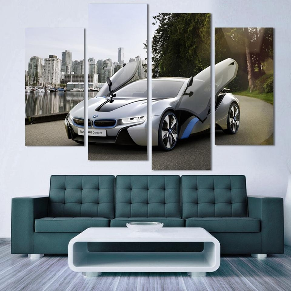 Fashion Sport Car Canvas Prints Painting Decoration For Bed Room 4 With Most Up To Date Car Canvas Wall Art (View 16 of 20)