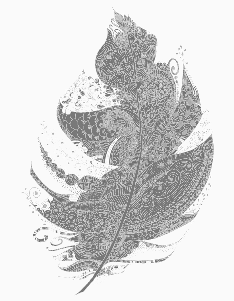 Feather Art Print Illustration Black & White Wall Art Decor – Lucia inside Current White Wall Art