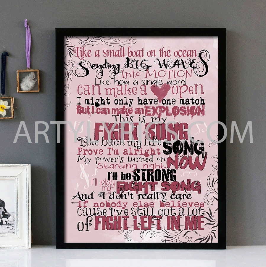 "Fight Song"" – Rachel Platten – Framed Lyrics Wall Art Design For 2017 Song Lyric Wall Art (View 8 of 20)"