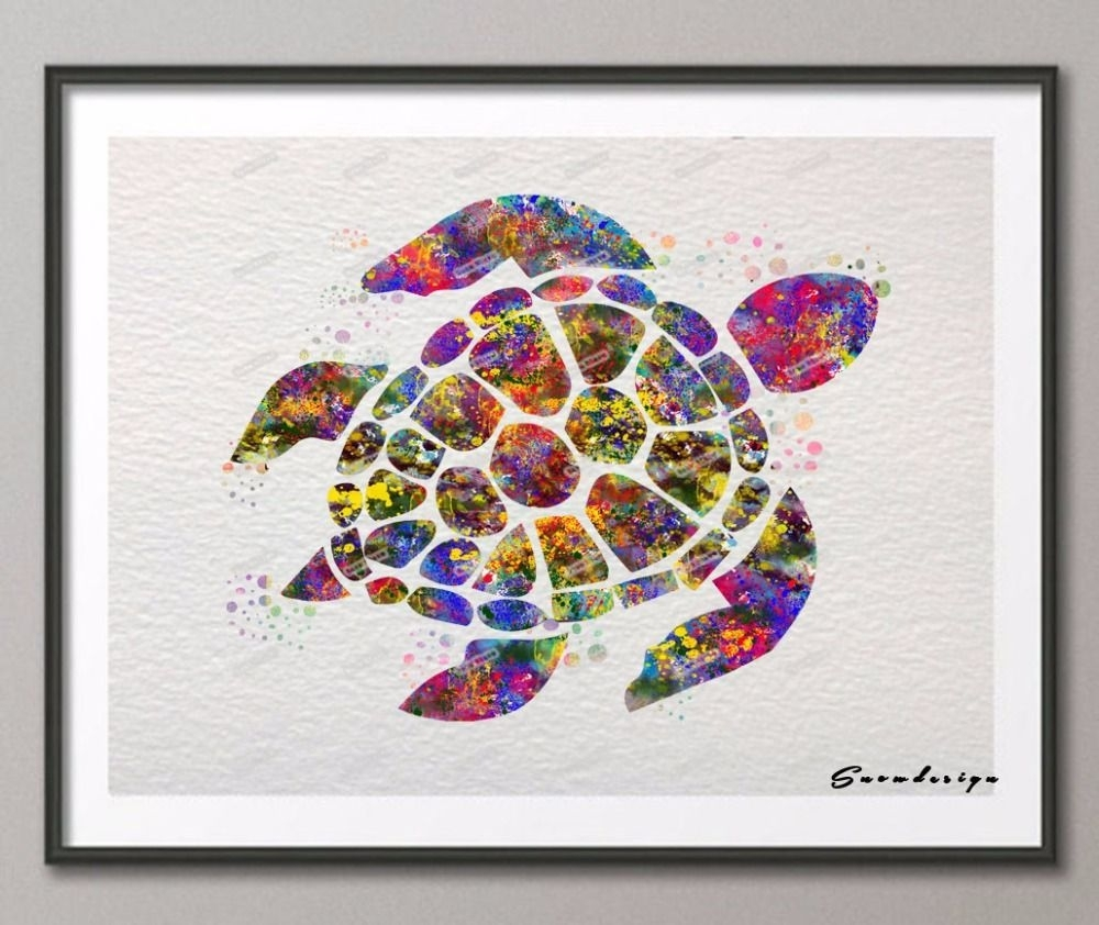 Find More Painting & Calligraphy Information About Diy Original Pertaining To Most Up To Date Sea Turtle Canvas Wall Art (View 10 of 20)