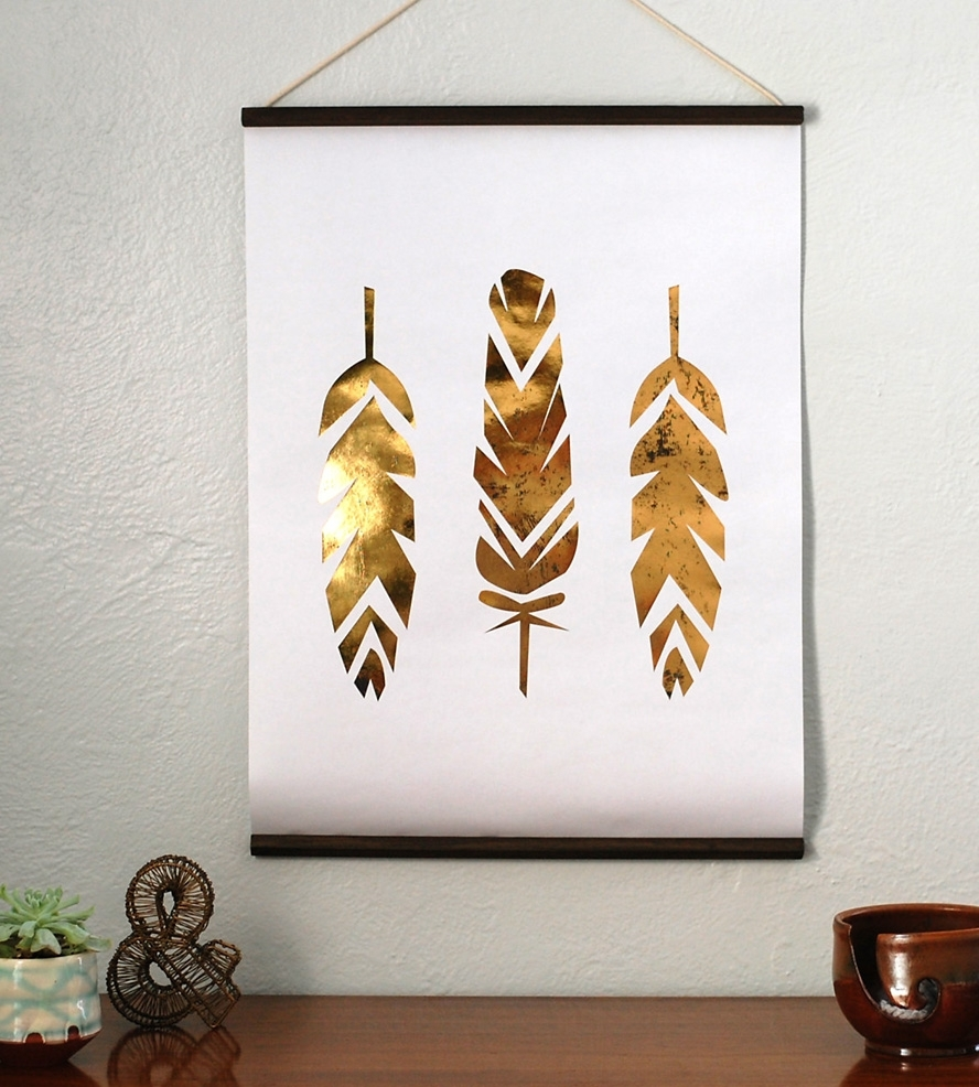 Fine Design Gold Leaf Wall Art Foil Feather Hanging Pieces Cristin Within Latest Gold Foil Wall Art (View 8 of 20)