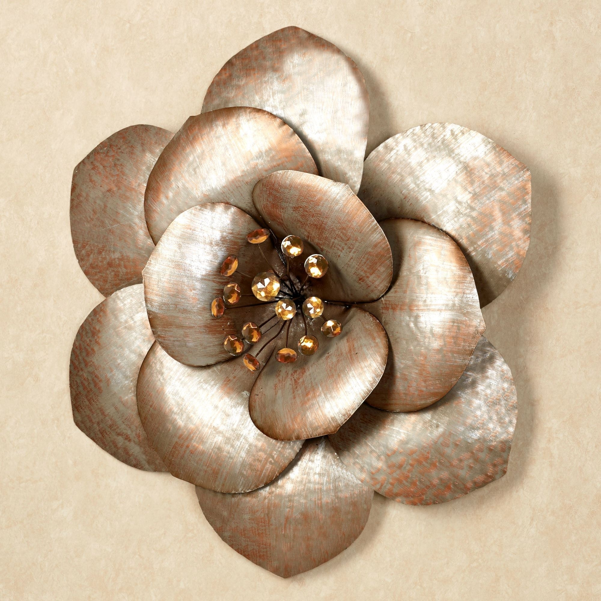 Fiore Gem Flower Blossom Metal Wall Art Pertaining To 2018 Metal Flower Wall Art (View 6 of 15)