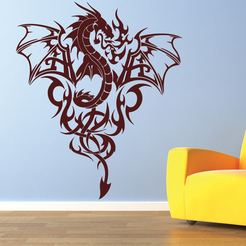 Fire Dragon Wall Sticker Tribal Monster Wall Decal Boys Bedroom Home Intended For Most Recently Released Dragon Wall Art (View 12 of 20)
