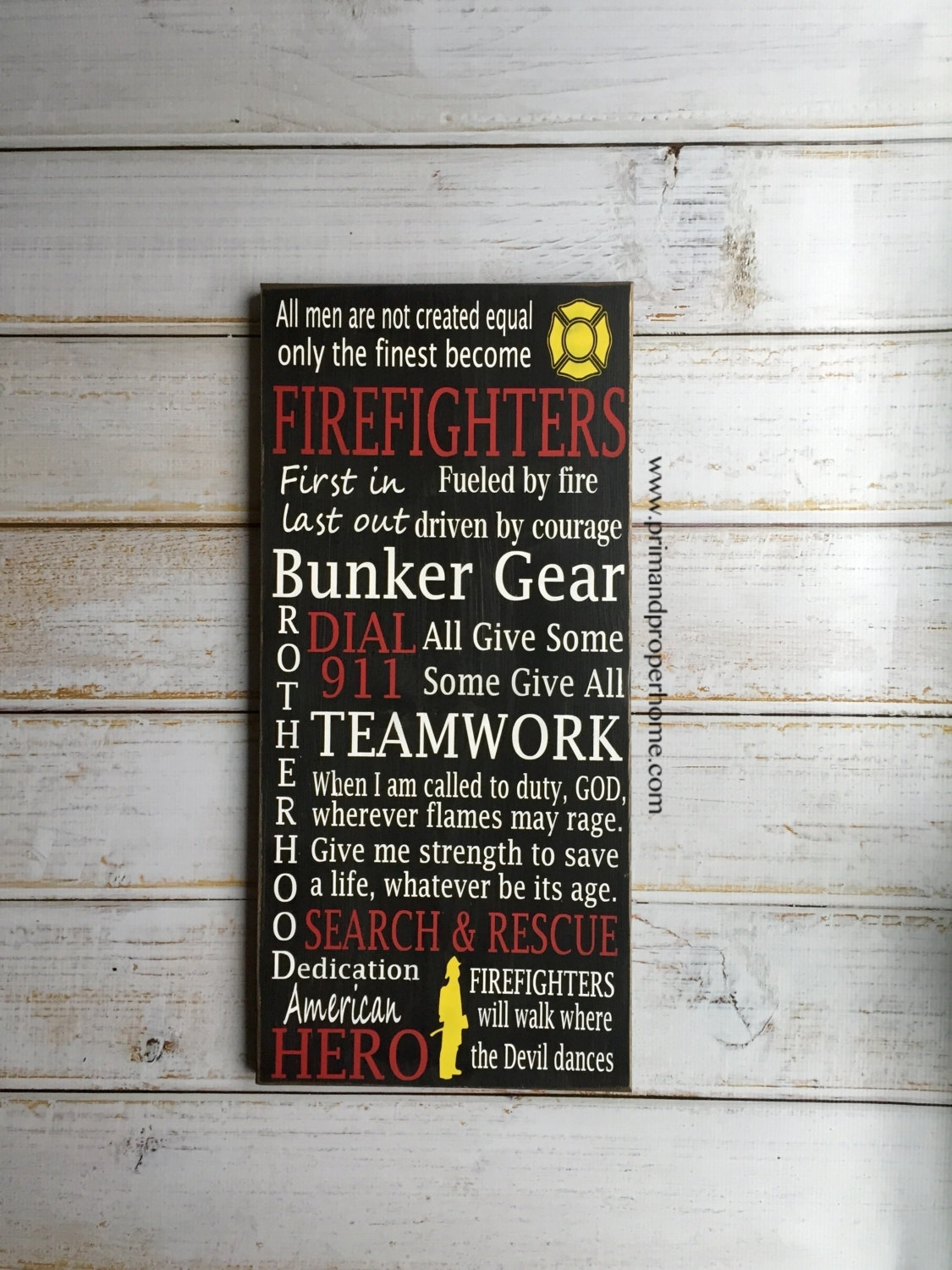 Firefighter – Hand Painted Typography Wall Art – Prim & Proper Within Latest Firefighter Wall Art (Gallery 2 of 15)