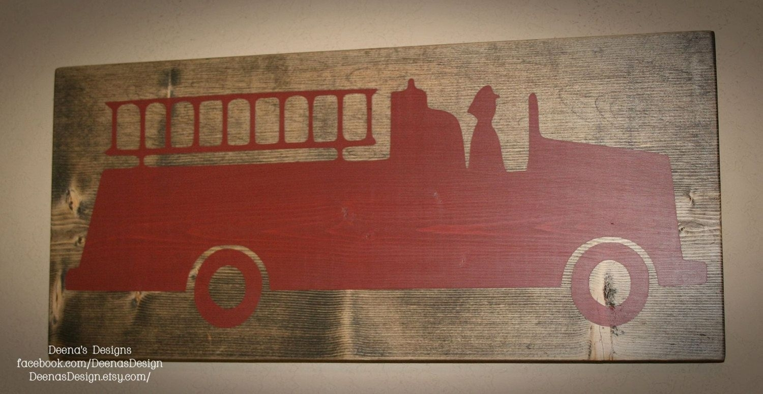 Firefighter Sign, Firefighter Decor, Distressed Wood Sign, Firetruck Inside Most Up To Date Firefighter Wall Art (Gallery 7 of 15)