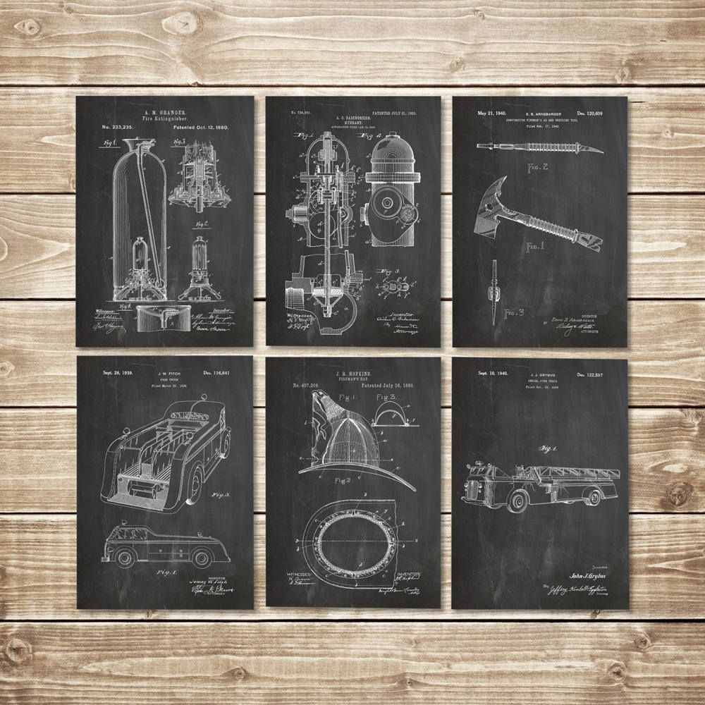 Firefighter Wall Art, Patent Print Set, Firefighter Decor, Fireman In 2017 Firefighter Wall Art (Gallery 13 of 15)