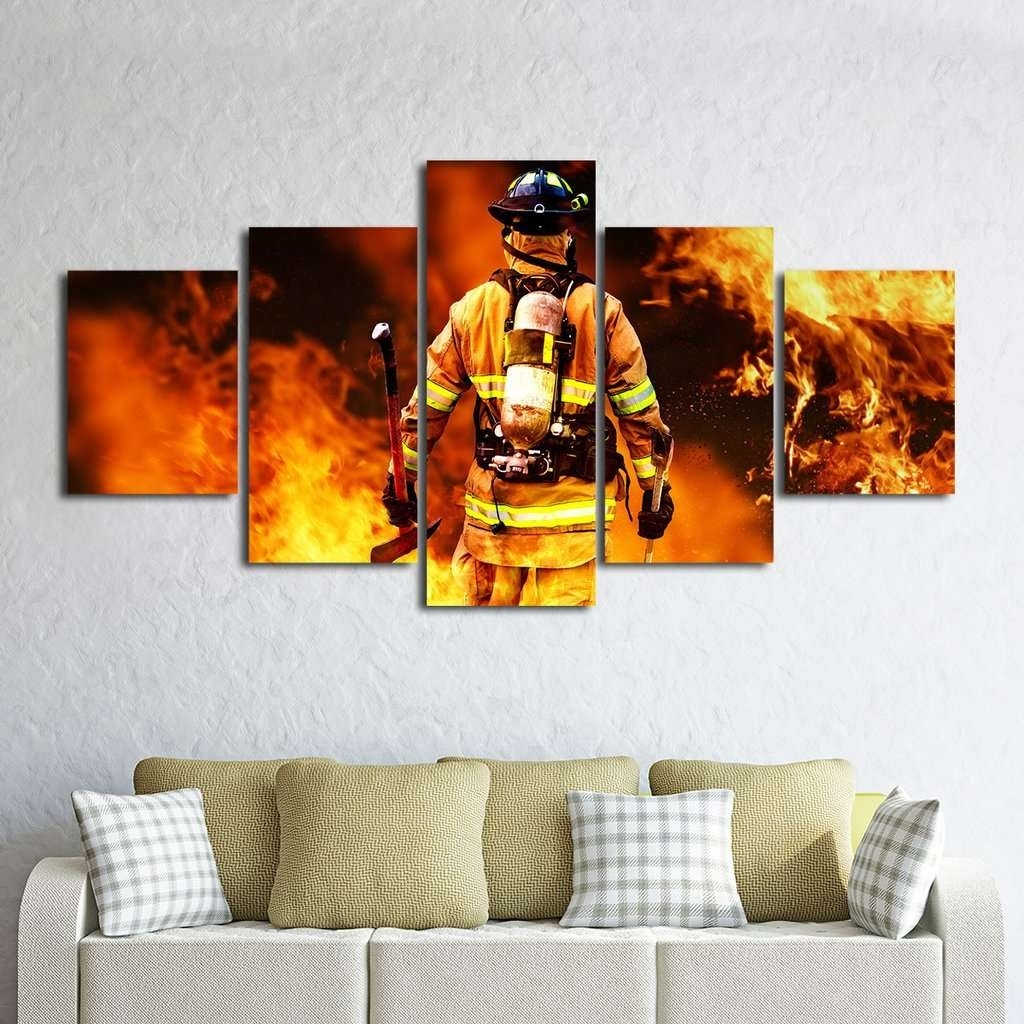 Fireman Fighting Fire Iaff Multi Panel Wall Art Canvas – Mighty In Latest Multi Panel Wall Art (View 7 of 15)