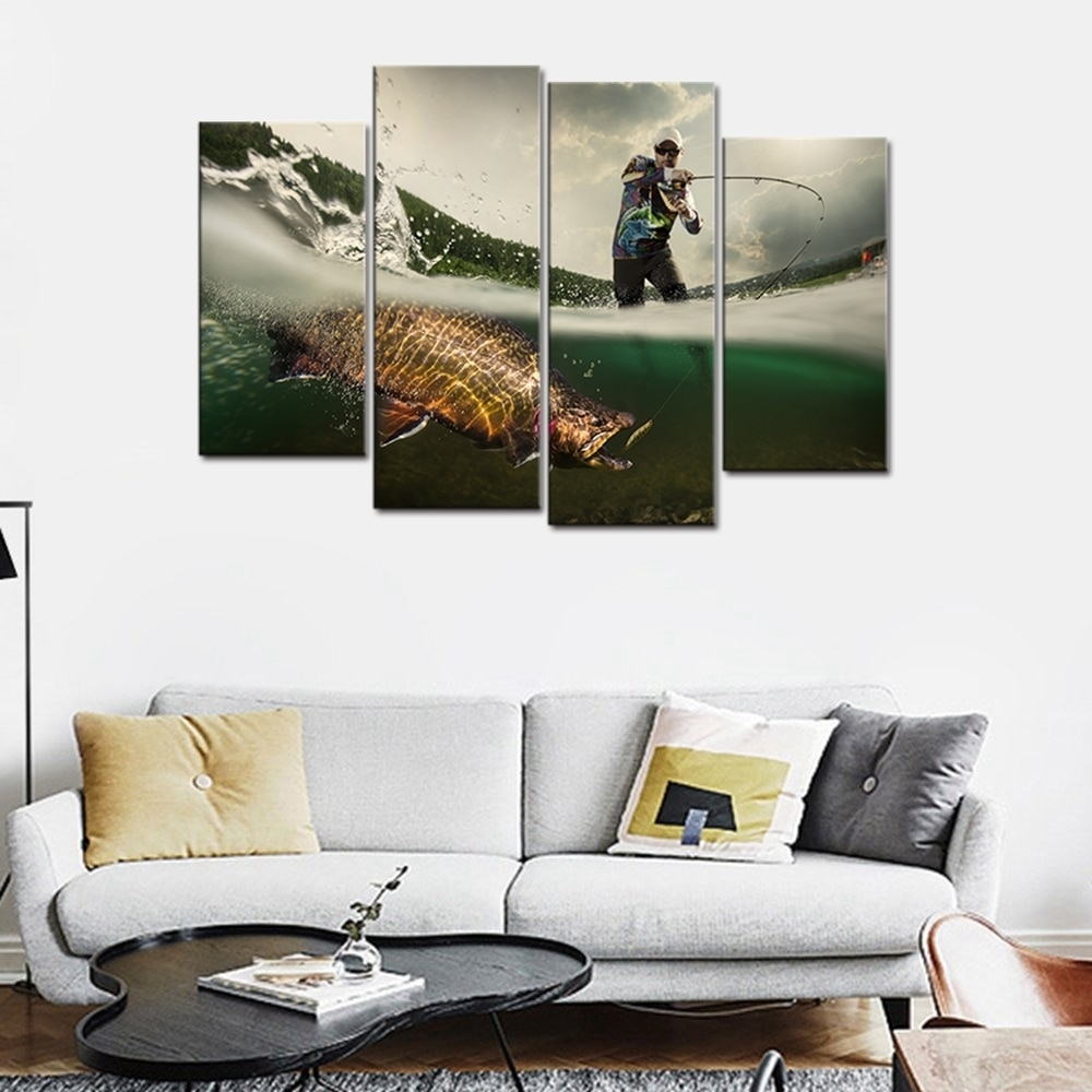 Fishing Picture Big Fish Poster Wall Art For Living Room Canvas In Newest Wall Art For Men (View 5 of 15)