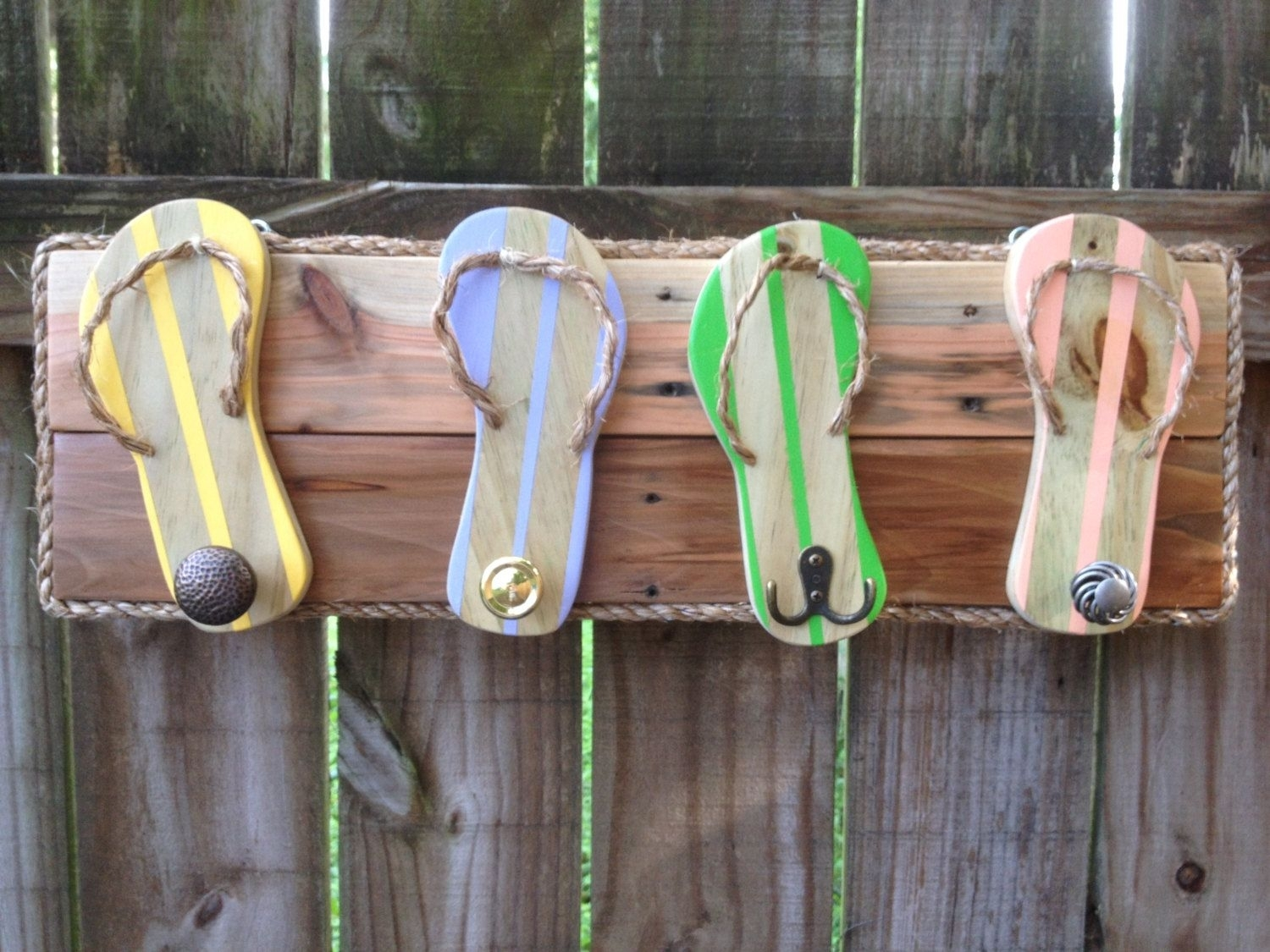 Flip Flop Towel Holder – Outdoor Shower Hooks – Bathroom Towel Rack Regarding Most Current Flip Flop Wall Art (View 6 of 15)