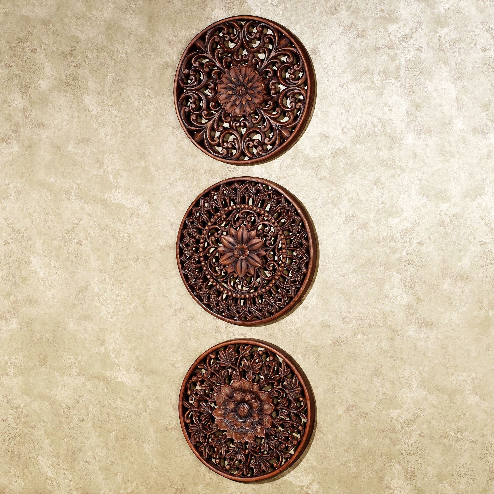 Floral Medallion Wall Plaque Set For Latest Medallion Wall Art (View 4 of 20)