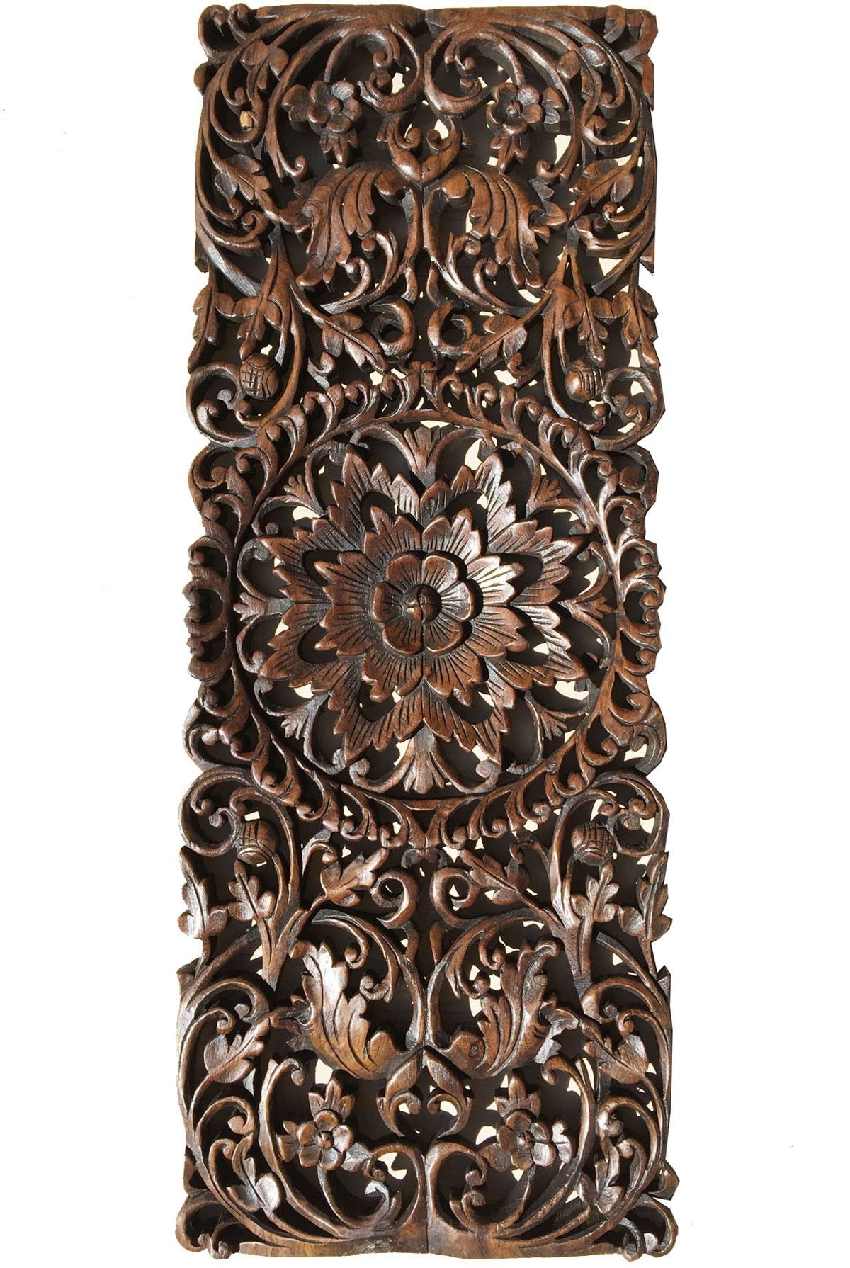 Floral Tropical Carved Wood Wall Panel (View 11 of 15)