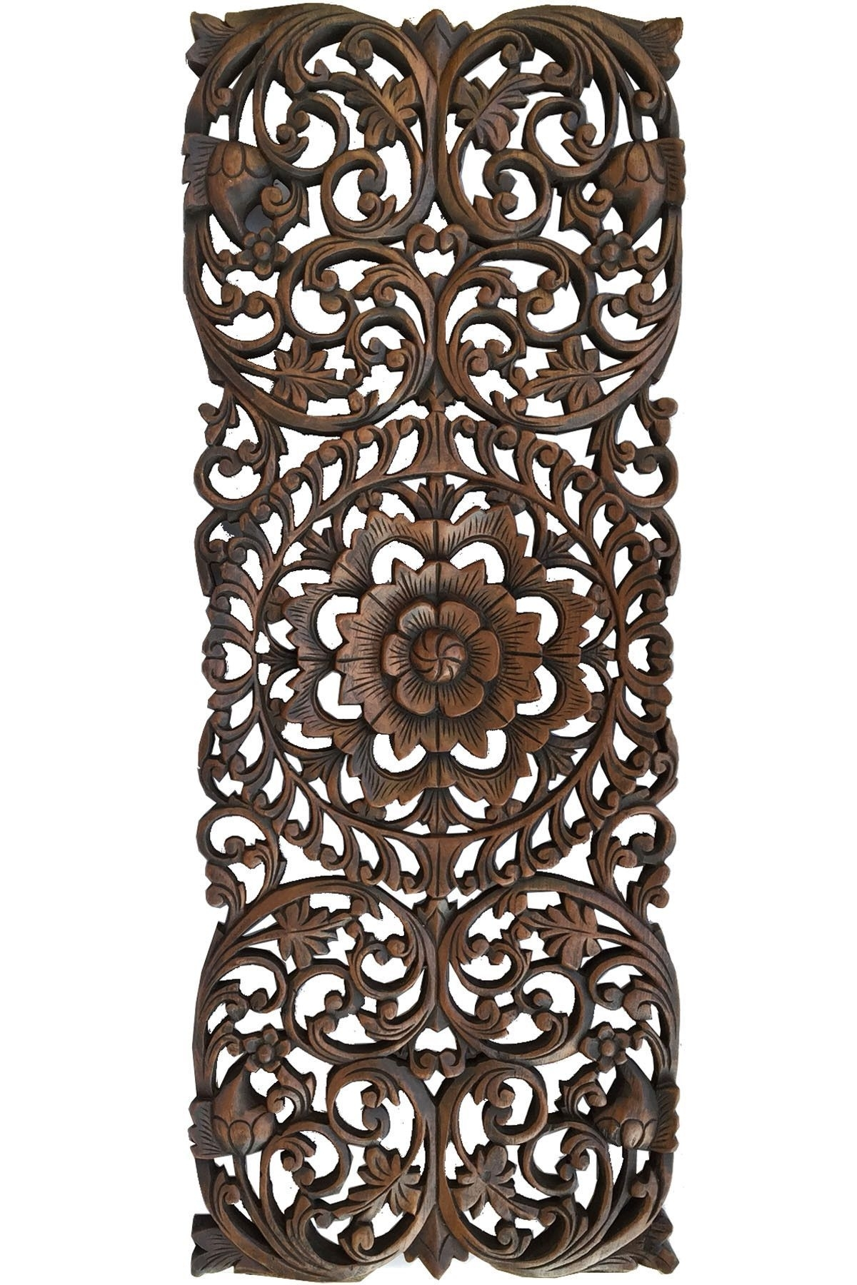 Floral Tropical Carved Wood Wall Panel. Asian Wall Art Home Decor Pertaining To Most Recent Carved Wood Wall Art (Gallery 13 of 15)