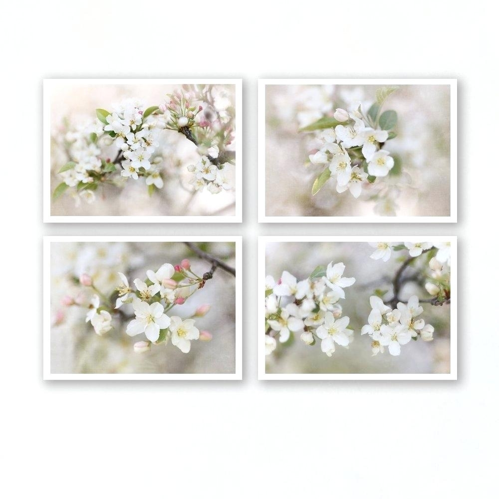 Floral Wall Art Set Of 4 Prints Floral Wall Art Large Framed Floral In 2017 Floral Wall Art (View 14 of 20)