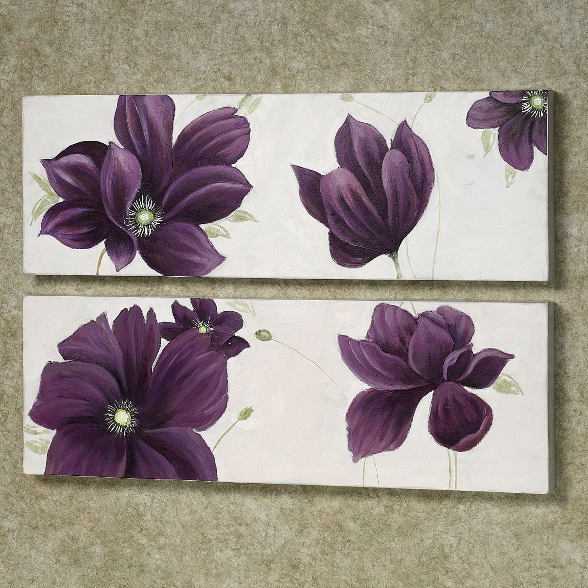 Floral Whispers Canvas Wall Art Set | Ideas For My New Home with regard to Newest Purple And Grey Wall Art