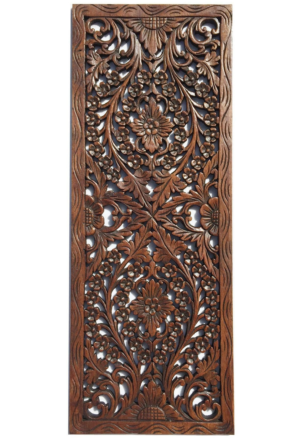 Floral Wood Carved Wall Panel. Wall Hanging. Asian Home Decor Within Most Current Asian Wall Art (Gallery 7 of 15)