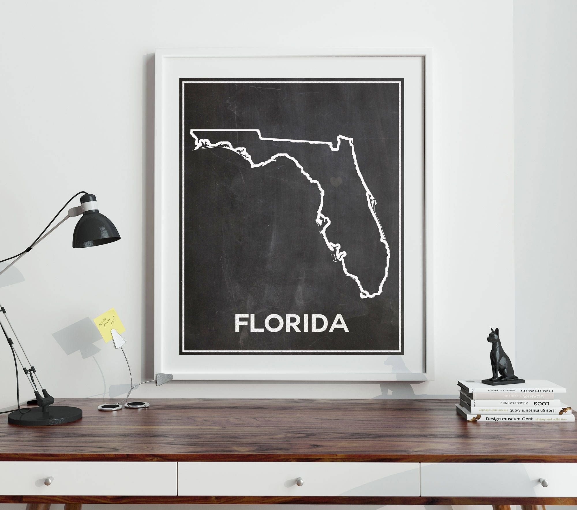 Florida Chalkboard Map Of Florida Florida Poster Florida Wall Art Pertaining To Current Florida Wall Art (View 3 of 20)