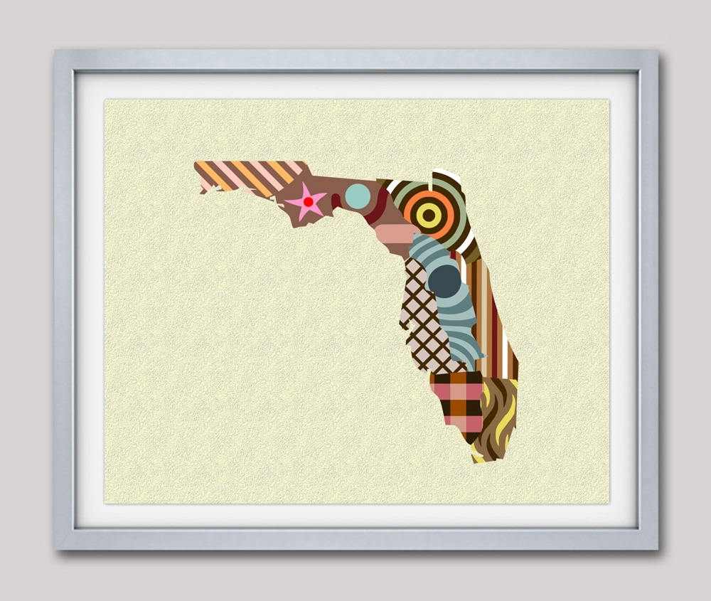 Florida Map, Florida Poster, Florida Print, Florida Painting inside Most Popular Florida Wall Art