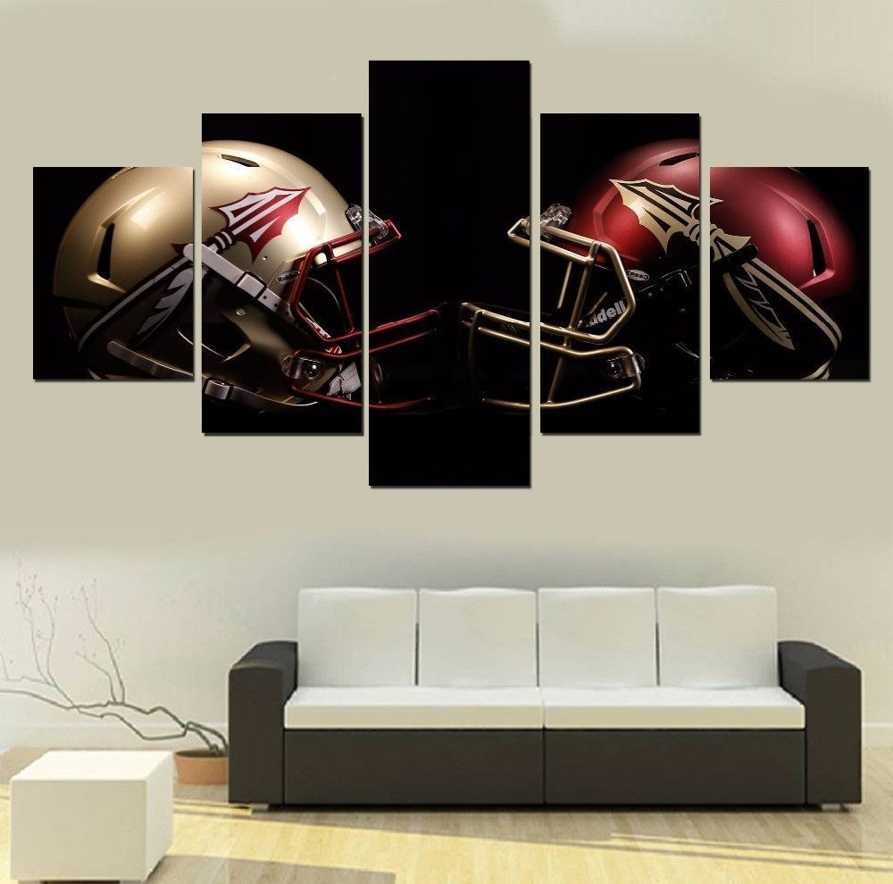 Florida State Football 5 Panel Canvas Wall Art Home Decor | Products Intended For Newest Florida Wall Art (View 6 of 20)