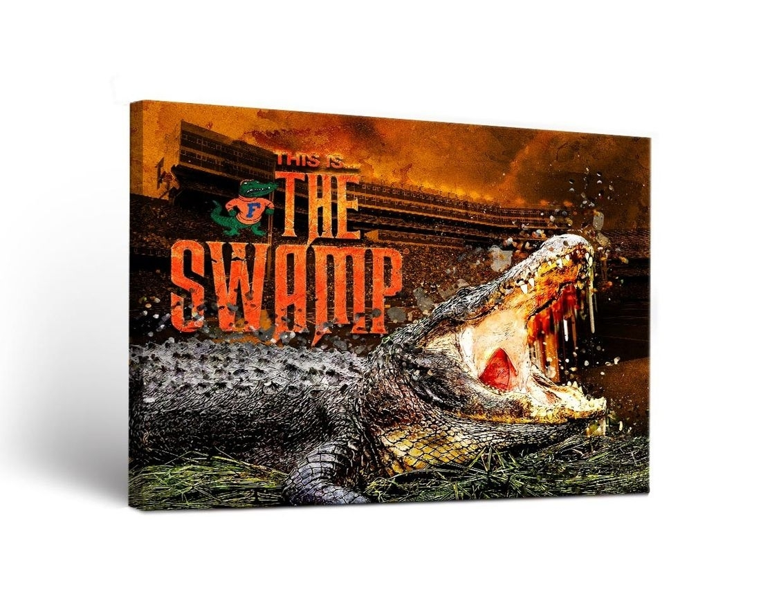 Florida Uf Gators Canvas Wall Art The Swamp Design For Most Up To Date Florida Wall Art (View 8 of 20)