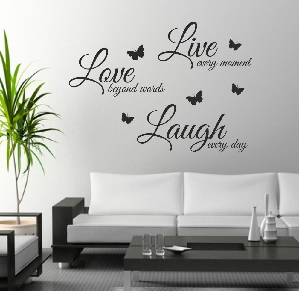 Foodymine Live Laugh Love Wall Art Sticker Quote Wall Decor Wall for Best and Newest Wall Art Quotes