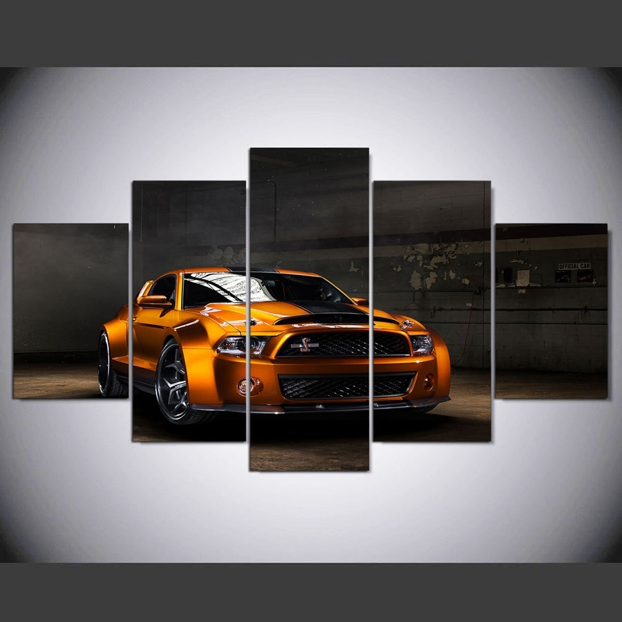 Ford Mustang Wide Body Car 5 Piece Canvas Wall Art Printed Poster throughout Recent Five Piece Canvas Wall Art