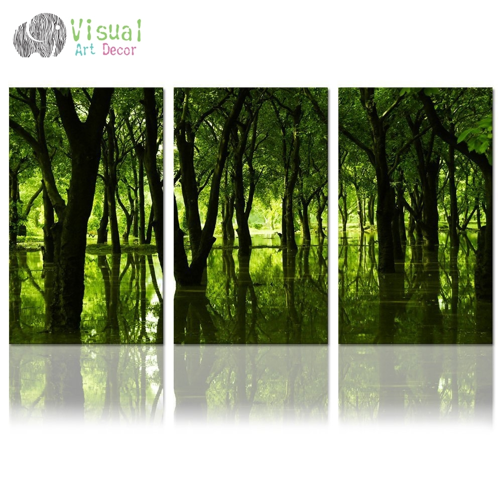 Forest Canvas Wall Art Well Designed Reflection Of Green Trees Large With Regard To Most Popular Nature Wall Art (Gallery 20 of 20)