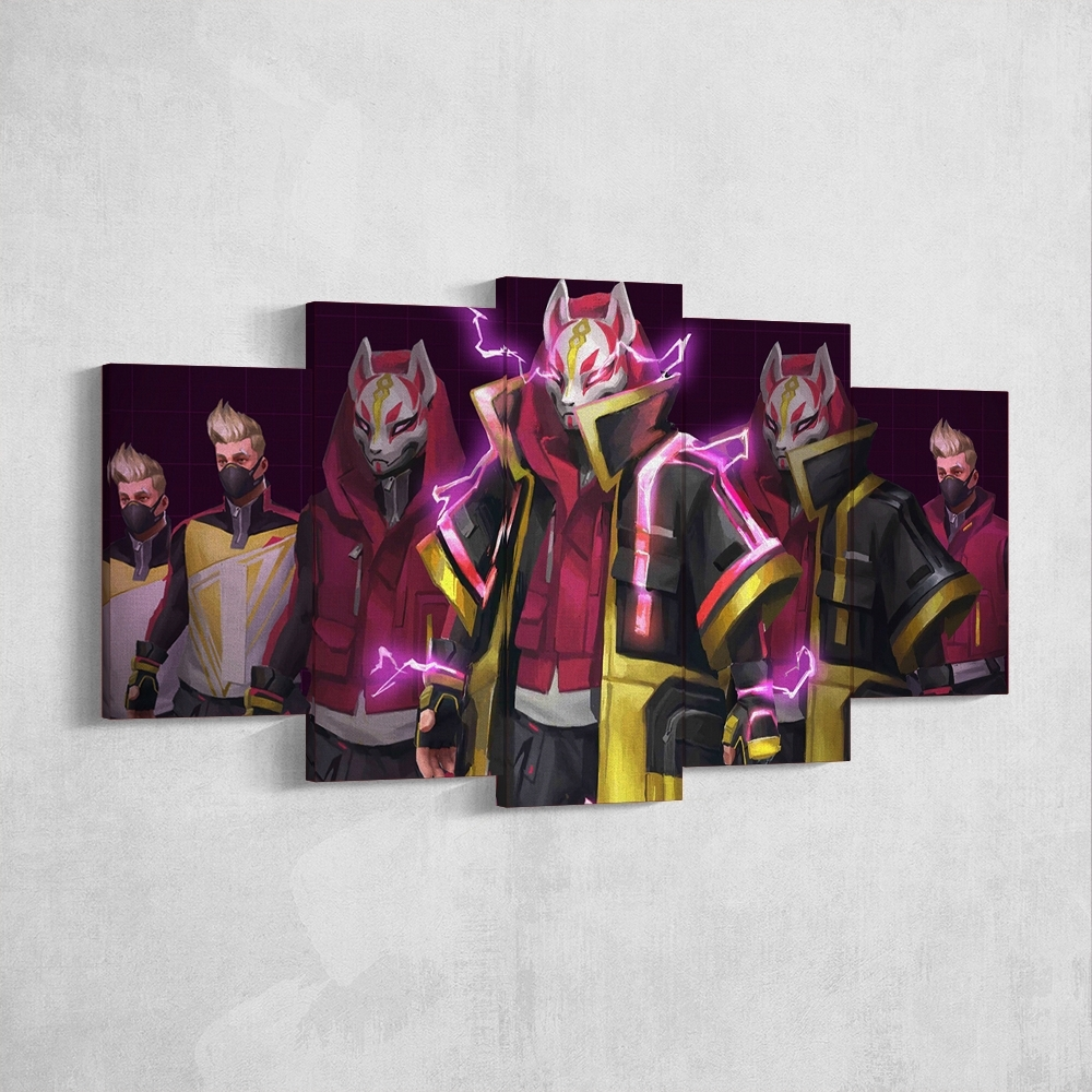 Fortnite 92 Drift 5 Piece Canvas Wall Art Gaming Canvas – Game Wall Art Intended For Most Current 5 Piece Wall Art Canvas (View 10 of 15)