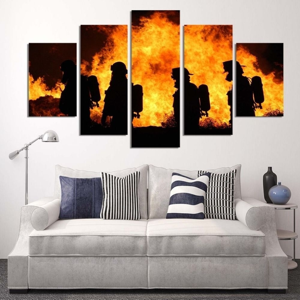 Framed 5 Piece Firefighters Poster Canvas Painting Wall Art Print With Regard To Latest Large Framed Canvas Wall Art (Gallery 19 of 20)
