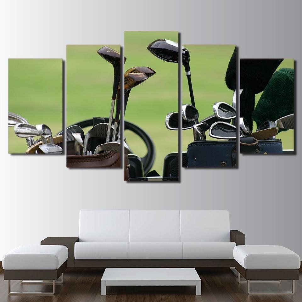 Framed 5 Piece Golf Clubs Canvas Wall Art Paintings Home Decor Pertaining To 2018 Golf Canvas Wall Art (View 11 of 20)