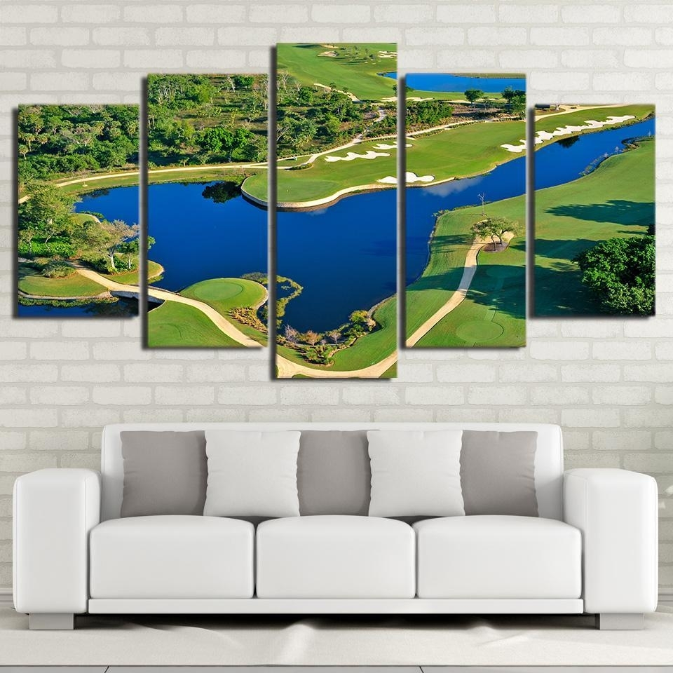 Framed 5 Piece Golf Course Beautiful Pool Canvas Wall Art Paintings Within Most Recently Released Golf Canvas Wall Art (View 13 of 20)