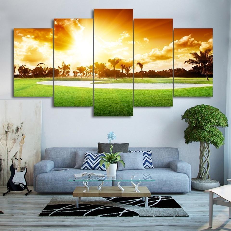 Framed 5 Piece Golf Course Sunset Print Canvas Wall Art Paintings Regarding Newest Golf Canvas Wall Art (View 14 of 20)