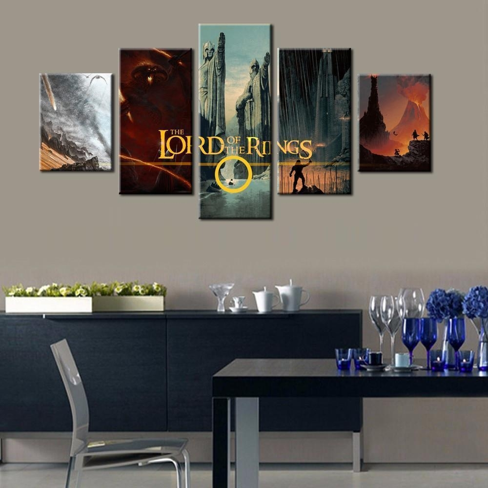 Framed 5 Piece Lord Of The Rings Montage Canvas Art Wall, Lord Of With Regard To Most Recent Lord Of The Rings Wall Art (View 13 of 20)