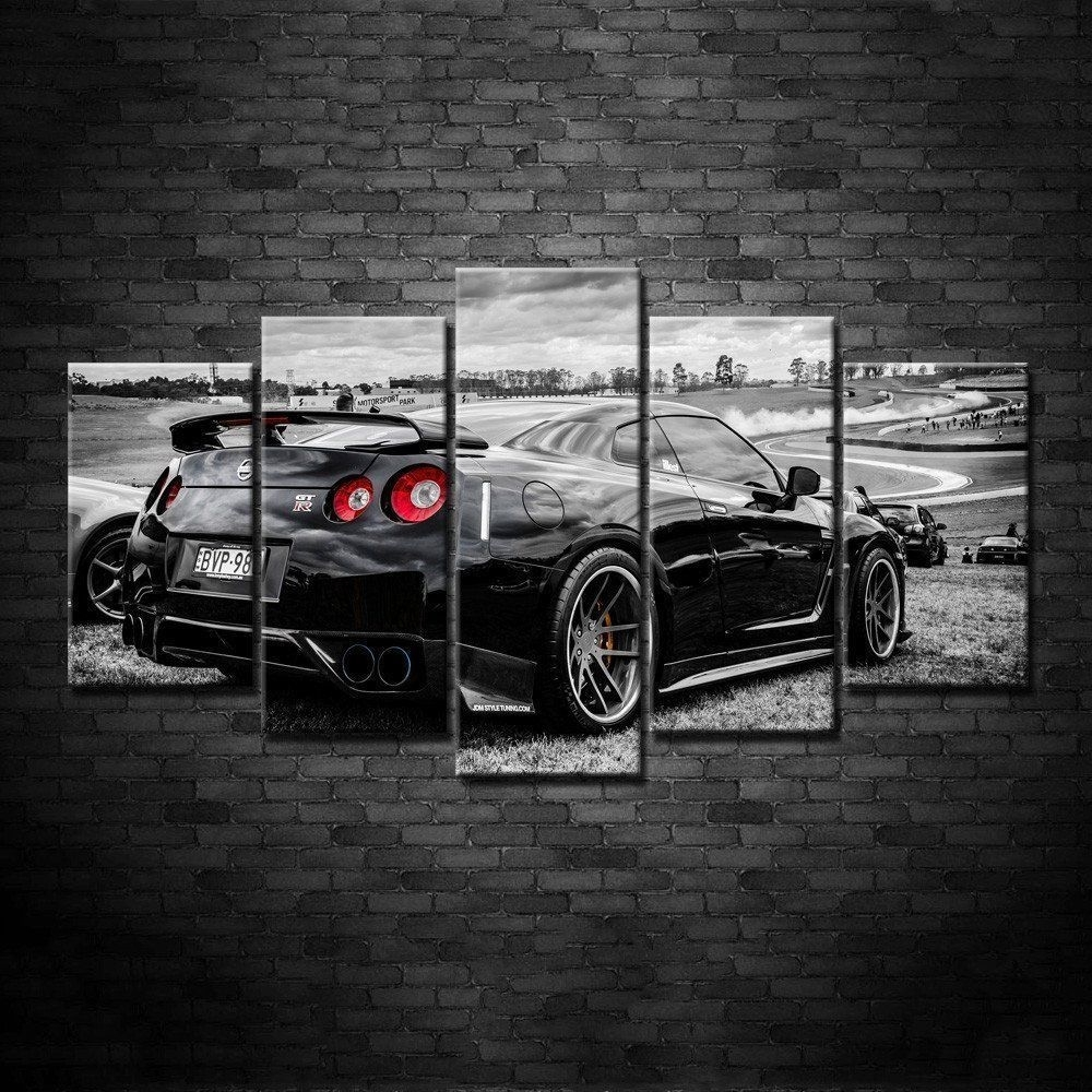 Framed 5 Piece Nissan Gtr Nismo Super Car Hd Poster Canvas Wall Art With Latest Car Canvas Wall Art (View 9 of 20)