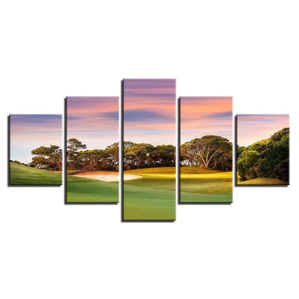 Framed 5 Piece Sunset Golf Course Canvas Wall Art Paintings Home Within Most Up To Date Golf Canvas Wall Art (View 16 of 20)