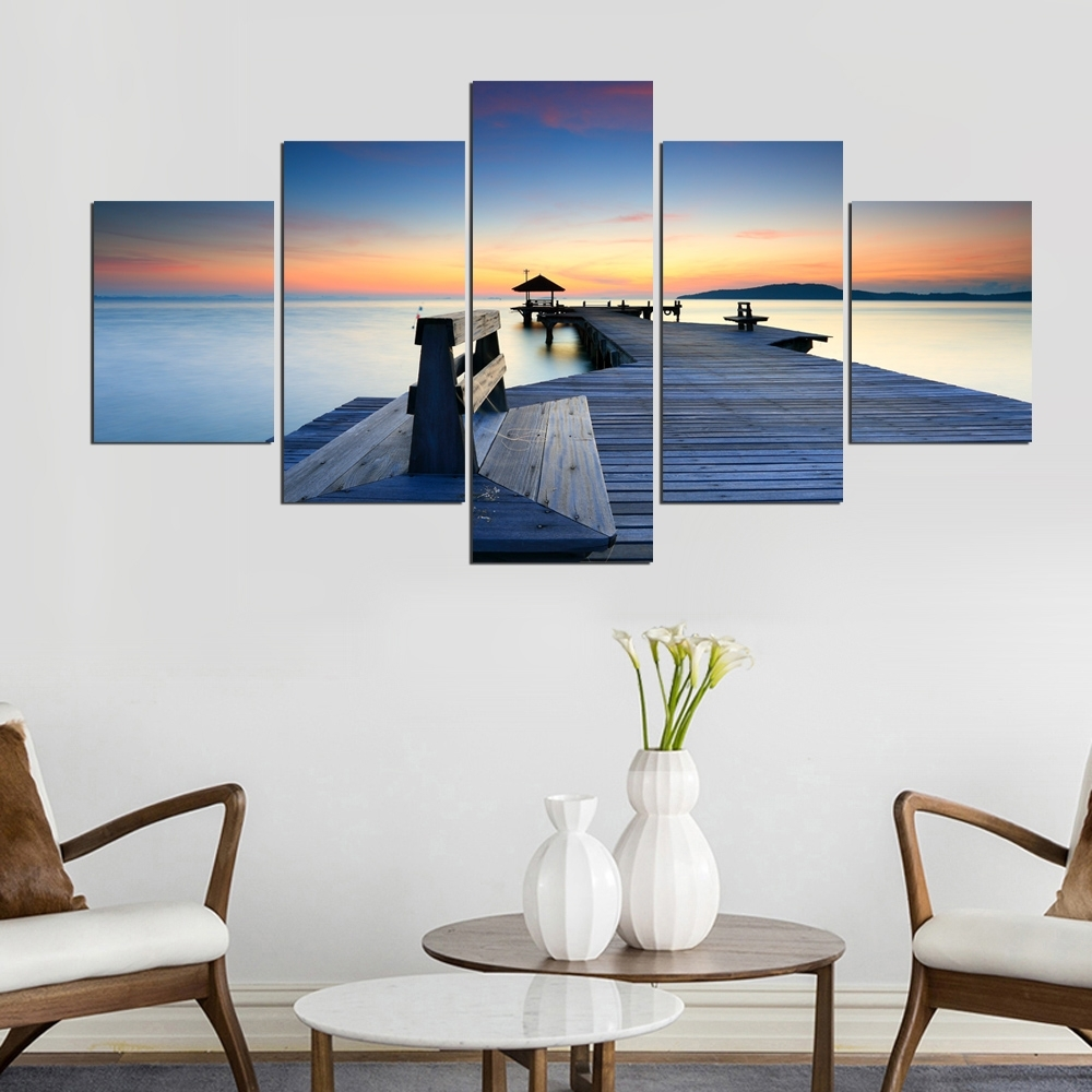 Framed Abstract Modern Home 5 Panel Wood Plank Road View Decor Throughout Newest Plank Wall Art (View 6 of 20)