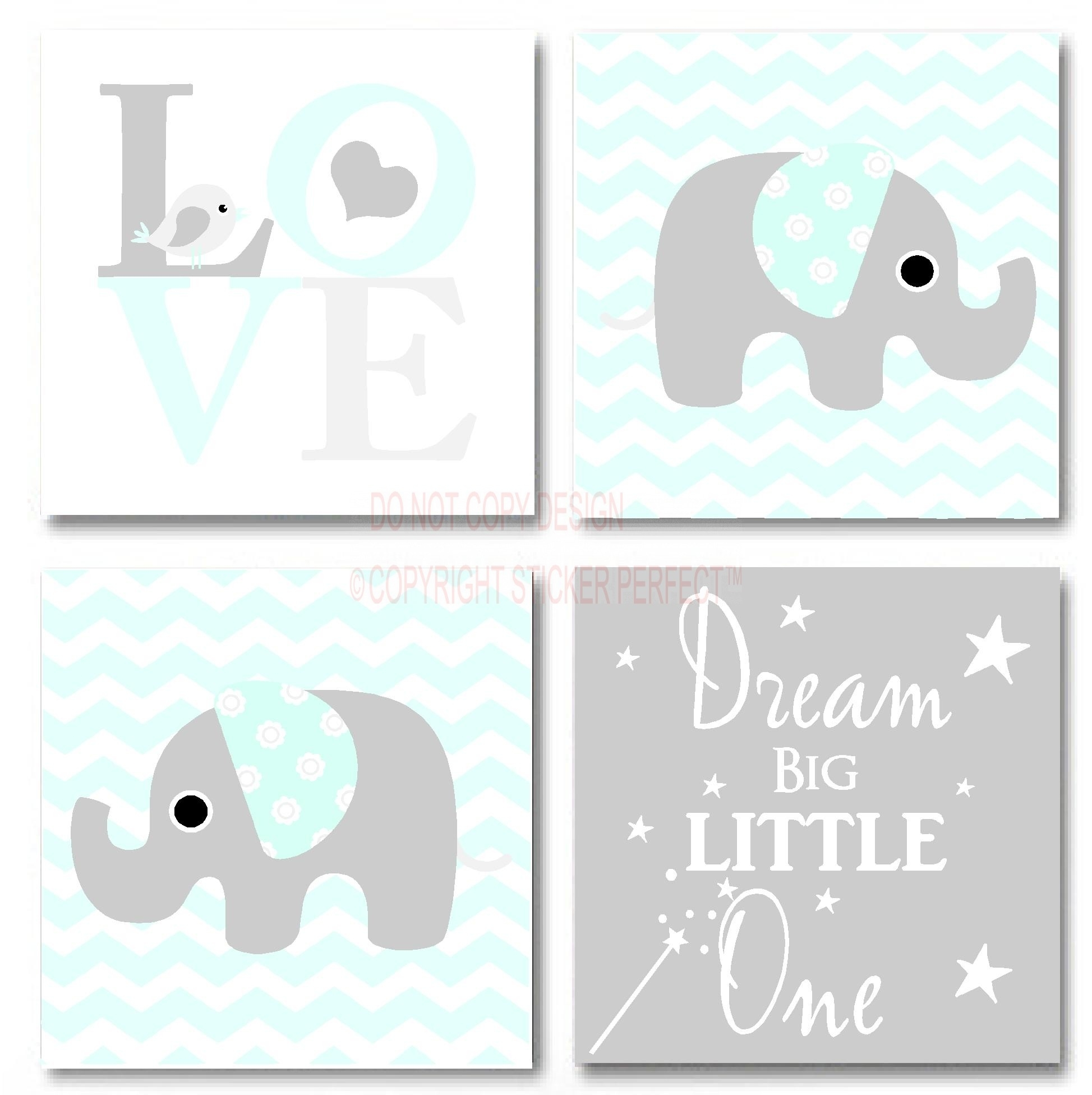 Framed Canvas Print Love 4 Piece Set Cute Elephant Bird With Latest Inspirational Wall Art Canvas (View 7 of 15)