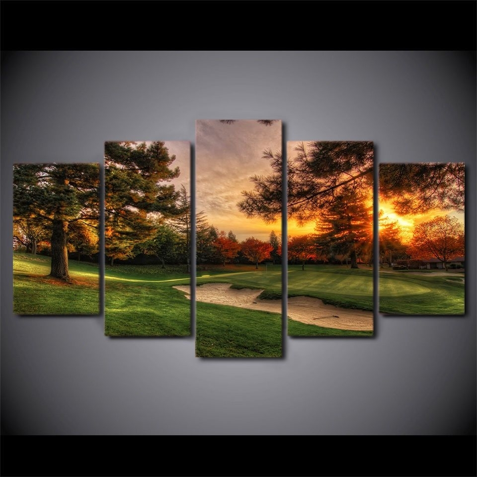 Framed Golf Course Sunset 5 Pcs Painting Printed Canvas Wall Art With Regard To Recent Golf Canvas Wall Art (View 16 of 20)