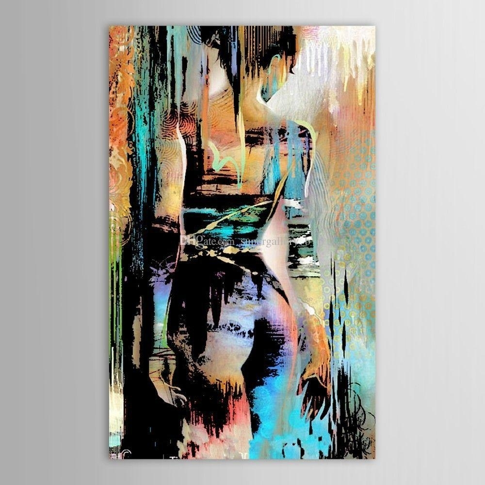 Framed Hand Painted Modern Abstract Graffiti Nude Girl Art Painting With Newest Modern Abstract Painting Wall Art (View 3 of 20)