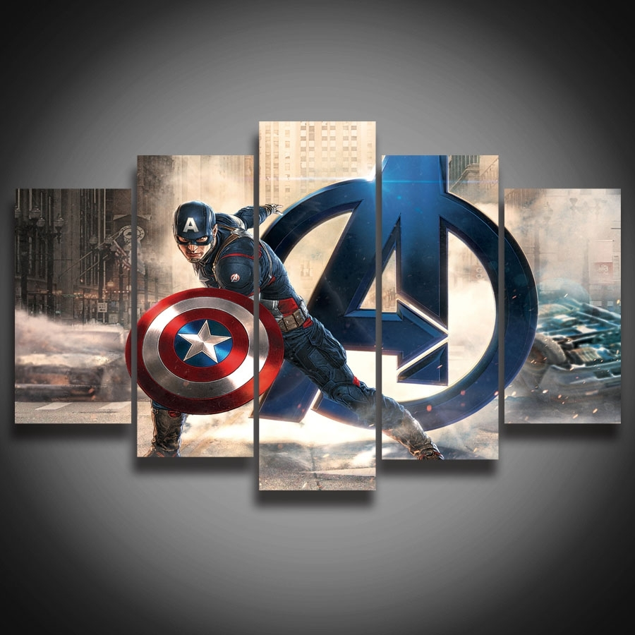 Framed Hd Printed Movie Super Hero Avenger Captain America Painting Throughout Most Popular Captain America Wall Art (View 7 of 15)