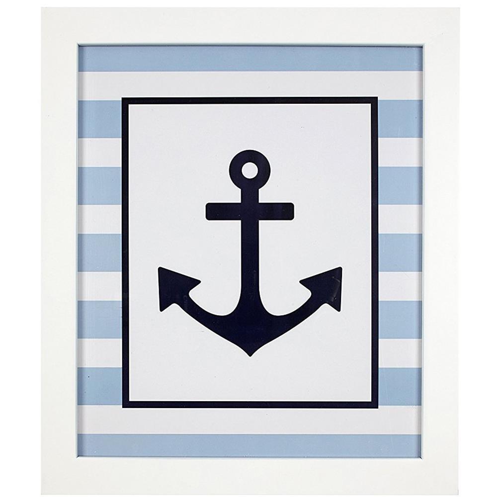 Framed Navy Anchor Wall Art | Carousel Designs throughout Recent Anchor Wall Art