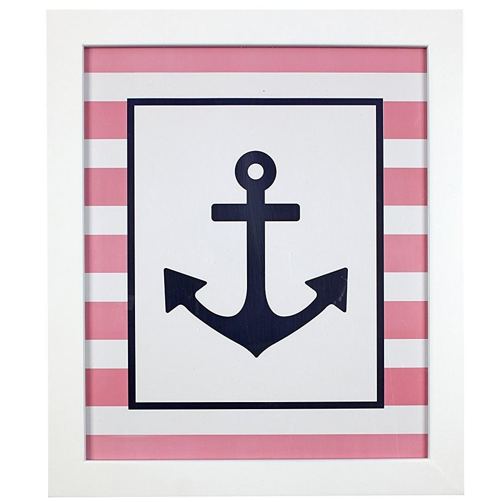 Framed Pink Anchor Wall Art | Carousel Designs Inside Current Anchor Wall Art (View 10 of 20)