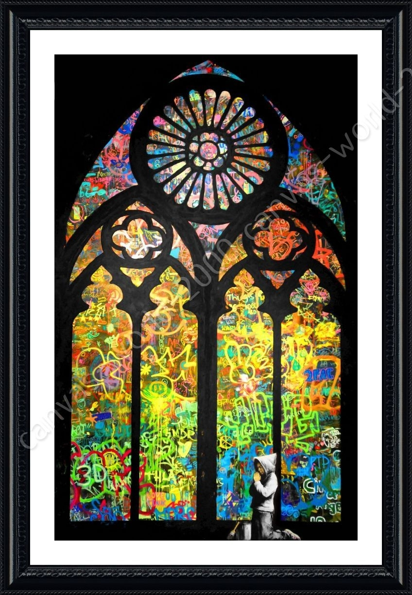 Framed Poster Stained Glass Window Church Cathedral Banksy Wall Art With Most Recent Stained Glass Wall Art (Gallery 3 of 20)
