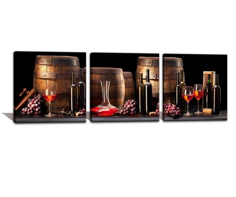 Framed] Wine Old Barrel Fruit Grape Modern Canvas Wall Art Prints Pertaining To Current Kitchen Canvas Wall Art Decors (View 12 of 20)