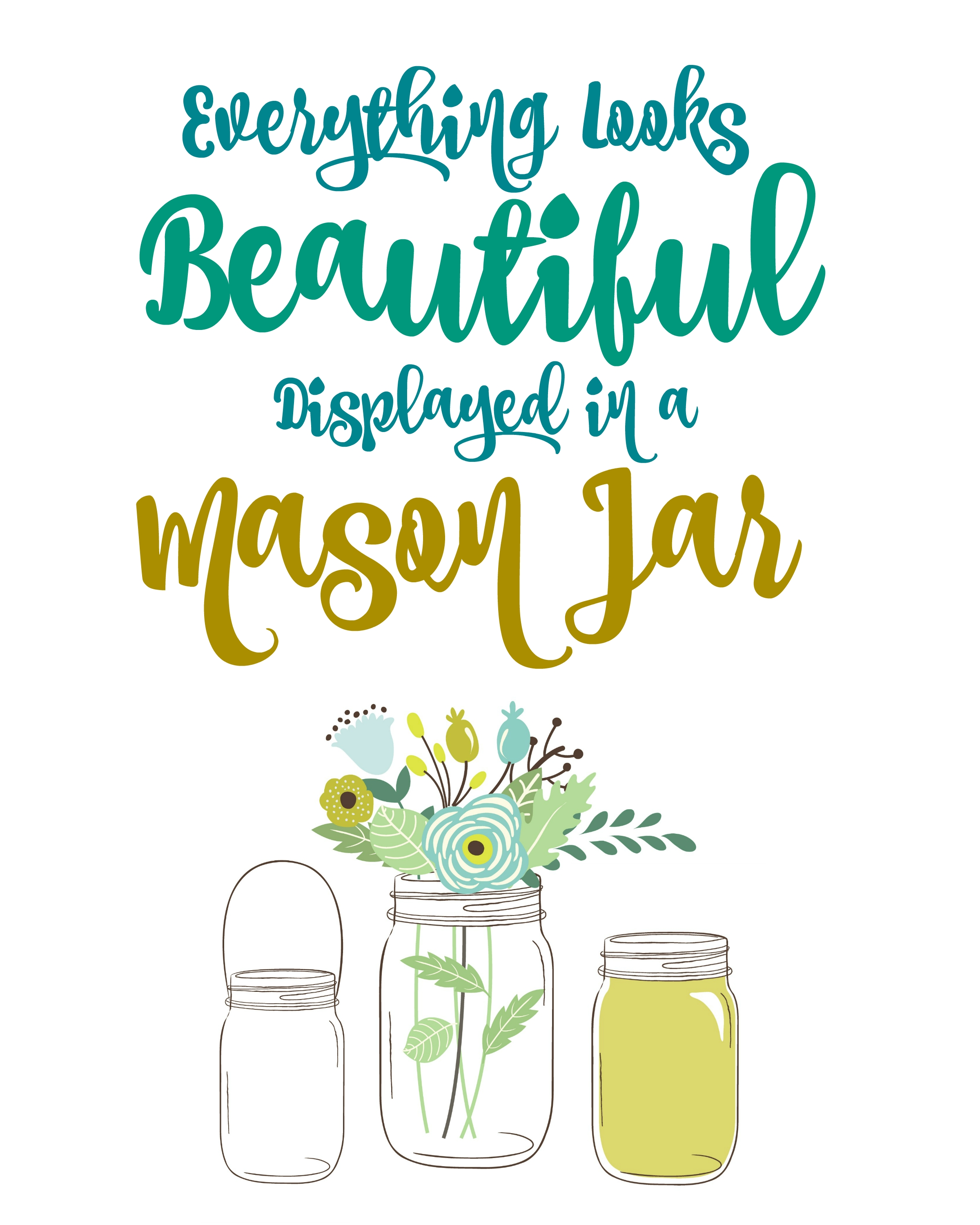 Free Mason Jar Printable Wall Art : Free Printables – The Homespun With 2018 Free Printable Wall Art (View 13 of 20)