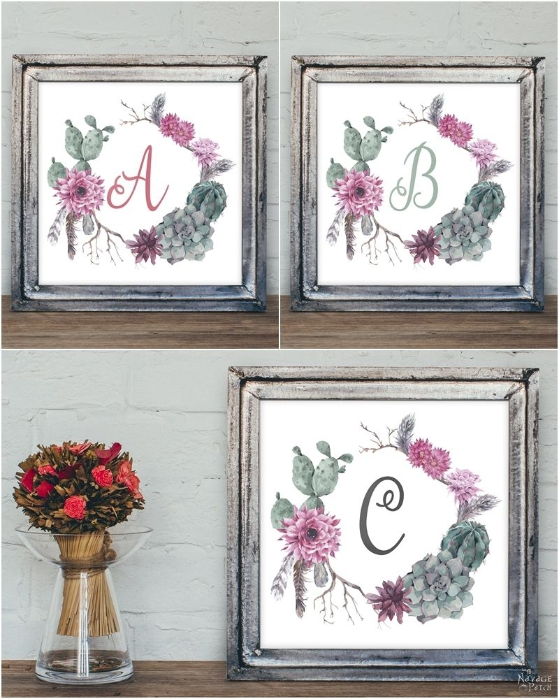 Free Printable Succulent Monogram Wall Art - The Navage Patch with regard to Most Current Monogram Wall Art