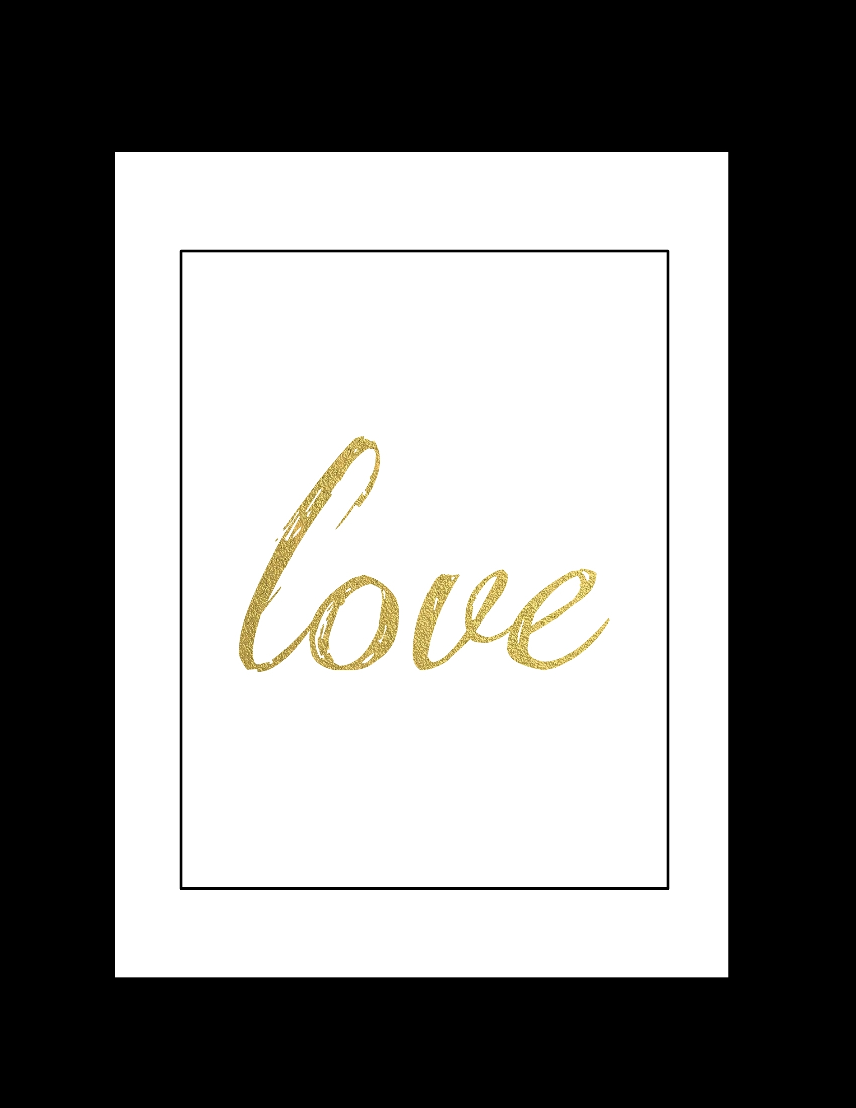 Free Printable Wall Art: Black And Gold Love – Paper Trail Design Inside Latest Free Printable Wall Art Decors (View 9 of 20)