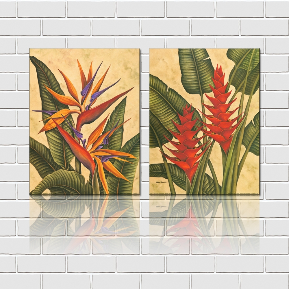 Free Shipping 2 Pieces Wall Art Set Tropical Flowers Canvas Prints Intended For Most Up To Date Tropical Wall Art (View 3 of 20)