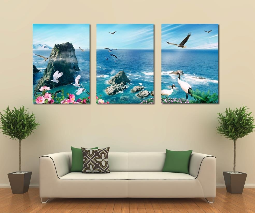 Free Shipping 3 Panel Canvas Art Home Decoration Wall Art Beach With Regard To 2018 Panel Wall Art (View 5 of 20)